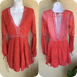 Angel Biba Gypsy Boho Chic Coral Top/Dress SZ 10